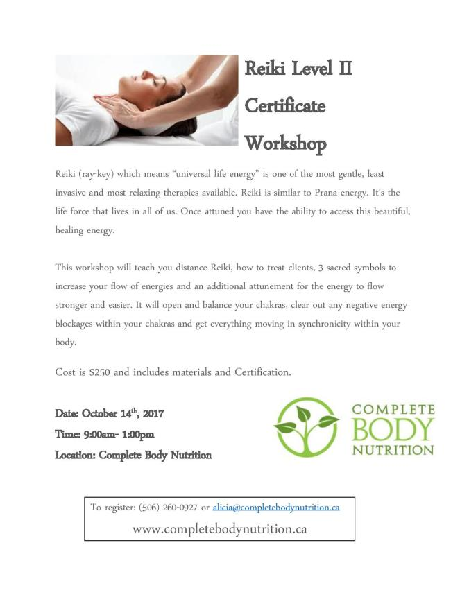 Reiki Certification Level Two Fredericton Complete Body Nutrition